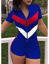 abordables -Femme Sports Mao Bleu Blanc Noir Crochet Barboteuse, Bloc de Couleur XL XXL XXXL Manches Courtes / Sexy