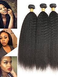 abordables -3 offres groupées Cheveux Péruviens Droit crépu Cheveux humains Extensions Naturelles 8-28 pouce Tissages de cheveux humains Doux / Meilleure qualité / Nouvelle arrivee Extensions de cheveux humains
