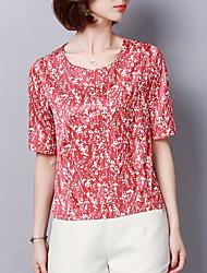 Недорогие -женская шелковая футболка - цветочная шея