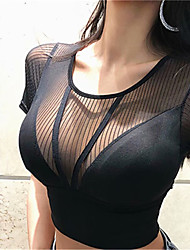 cheap -Women's Crew Neck See Through Crop Top - White, Black Sports Solid Color Mesh Tee / T-shirt Running, Fitness, Gym Short Sleeves Activewear Lightweight, Quick Dry, Breathable Micro-elastic