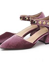 povoljno -Žene Cipele Brušena koža Proljeće Obične salonke Cipele na petu Kockasta potpetica Crvena / Plava / Pink