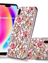 Недорогие -Кейс для Назначение Huawei Huawei P20 / Huawei P20 Pro / Huawei P20 lite Прозрачный / С узором Кейс на заднюю панель Цветы Мягкий ТПУ