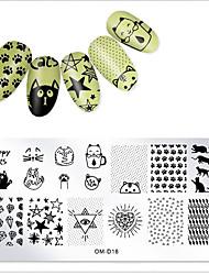 baratos -1 pcs Modelo Tema Clássico / Criativo arte de unha Manicure e pedicure Estampado / Casual Roupa Diária