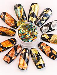 baratos -12 pcs Adesivo de folha Criativo arte de unha Manicure e pedicure Segurança Estiloso / Colorido Diário