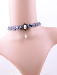 cheap -Women's Classic Choker Necklace - Imitation Pearl, Lace Flower Vintage, Sweet Light Purple 30 cm Necklace 1pc For Date, Street