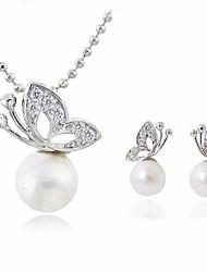 economico -Per donna Perla d'acqua dolce Perline Parure di gioielli - Farfalla Dolce, Elegante Includere Collana / Orecchino Argento Per Appuntamento / Compleanno
