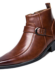 billiga -Herr Fashion Boots PU Vår Stövlar Svart / Brun