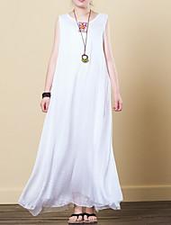 baratos -Mulheres Básico Solto Evasê Vestido Sólido Longo Branco