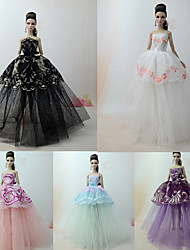 cheap -Dresses Dress For Barbie Doll Black Combo Tulle / Lace / Silk / Cotton Blend Dress For Girl's Doll Toy