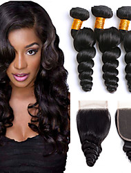 cheap -3 Bundles with Closure Indian Hair Loose Wave Human Hair Headpiece / Extension / Hair Accessory 8-24 inch Black Natural Color Human Hair Weaves Machine Made / 4x4 Closure Soft / Silky / Best Quality