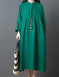abordables -Femme Sortie Rétro / Basique Maxi Ample Courte / Tunique Robe Couleur Pleine Eté Automne Vert Rouge Jaune L XL XXL Manches Longues