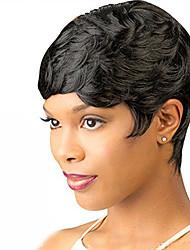 abordables -Pelucas sintéticas Ondulado Bob corto Pelo sintético 6 pulgada Mujer / Con golpes Negro Peluca Mujer Corta Sin Tapa / Sí