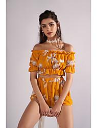 economico -Per donna Moda città Manica a sbuffo Blusa - Con balze, Fantasia floreale Pantalone