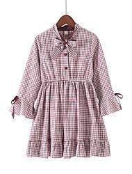 levne -Děti Dívčí Pléd Dlouhý rukáv Šaty