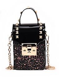 baratos -Mulheres Bolsas PU Telefone Móvel Bag Botões Rosa / Bege / Arco-íris