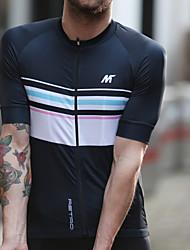 abordables -Mysenlan Homme Manches Courtes Maillot de Cyclisme - Bleu de minuit Bandes horizontales Cyclisme Maillot, Cyclisme Séchage rapide, Eté, Polyester / Fermeture YKK