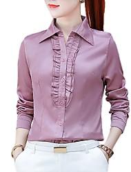 Недорогие -Жен. Оборки Рубашка Деловые Однотонный