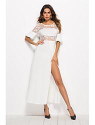 baratos -partido das mulheres slim bainha vestido de cintura alta maxi