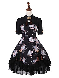 cheap -Classic Lolita Dress Casual Lolita Dress Traditional / Vintage Chinese Style Lace Up Female Dress Cosplay Black Puff / Balloon Sleeve Short Sleeve Knee Length Halloween Costumes