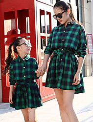 cheap -Adults / Kids Mommy and Me Plaid Long Sleeve Dress