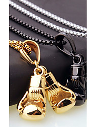 cheap -Men's Stylish / Foxtail chain Chain Necklace / Charm Necklace - Stainless Boxing Gloves European, Casual / Sporty, Fashion Gold, Black, Silver 45 cm Necklace 1pc For Gift, Street
