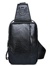 baratos -Homens Bolsas PU Sling sacos de ombro Ziper Preto / Marron
