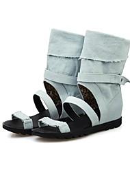 お買い得  -女性用 靴 デニム 夏 コンフォートシューズ サンダル フラットヒール ブラック / ブルー / ライトブルー