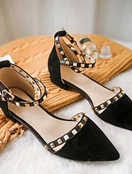 Недорогие -Жен. Комфортная обувь Синтетика Лето На плокой подошве На плоской подошве Черный / Винный