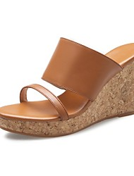 cheap -Women's Shoes Nappa Leather Spring & Summer Comfort Sandals Wedge Heel Black / Light Brown