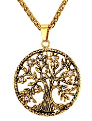 cheap -Men's Hollow Out Pendant Necklace - Stainless Steel Tree of Life Fashion Gold, Silver 55 cm Necklace Jewelry 1pc For Gift, Daily