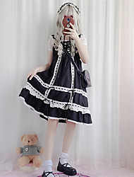 cheap -Sweet Lolita Dress Sweet Lolita Chiffon Female Dress Cosplay Black / Red / Green Stitching Lace Sleeveless Sleeveless Midi Halloween Costumes