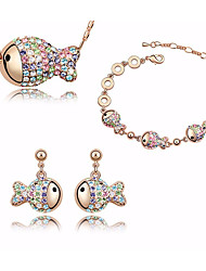 cheap -Women's Stylish / Rolo Jewelry Set - Fish Cartoon, Romantic, Sweet Include Chain Bracelet / Hoop Earrings / Pendant Necklace Light Purple / Blue / Pink For Gift / Date
