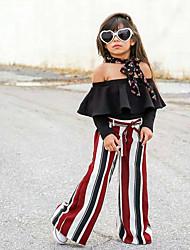 Недорогие -Дети Девочки Уличный стиль Полоски Шнуровка Длинный рукав Хлопок Набор одежды Черный