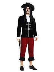 baratos -Piratas do Caribe Roupa Homens Dia Das Bruxas / Carnaval / Dia da Criança Festival / Celebração Trajes da Noite das Bruxas Preto Sólido / Halloween