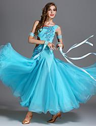 baratos -Dança de Salão Vestidos Mulheres Espetáculo Elastano / Georgette / Seda Sintética Apliques / Combinação / Cristal / Strass Sem Manga Alto Vestido / Braceletes