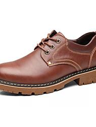 Недорогие -Муж. Кожа / Полиуретан Осень Удобная обувь Туфли на шнуровке Черный / Коричневый