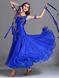 abordables -Danse de Salon Robes Femme Utilisation Spandex / Georgette / Soie Glacée Appliques / Combinaison / Cristaux / Stras Sans Manches Taille haute Robe / Bracelets
