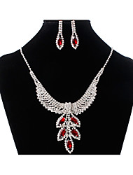 cheap -Women's AAA Cubic Zirconia Cuban Link Jewelry Set - Floral Theme, Leaf Statement, Vintage, Elegant Include Hoop Earrings / Statement Necklace / Necklace Red / Blue / Champagne For Party / Formal
