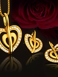 Недорогие -Жен. Стильные Цепь Foxtail Комплект ювелирных изделий - Сердце Стиль, Этнический, Элегантный стиль Включают Серьги-гвоздики Ожерелья с подвесками Золотой Назначение Обручение Подарок