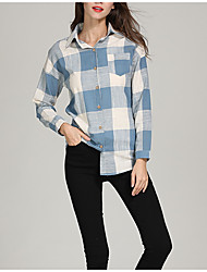 cheap -Women's Basic Shirt - Plaid Patchwork