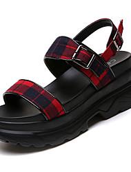 お買い得  -女性用 靴 コットン 夏 スリングバック サンダル クリーパーズ オープントゥ レッド / ブルー
