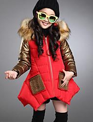 Недорогие -Дети Девочки Активный / Уличный стиль На выход Пэчворк Пэчворк Длинный рукав Длинная Полиуретановая На пуховой / хлопковой подкладке