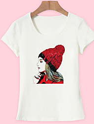 baratos -Mulheres Camiseta Básico Estampado, Retrato