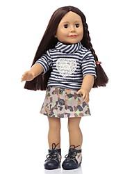 Недорогие -NPKCOLLECTION Модная кукла Девушка из провинции 18 дюймовый Силикон - Искусственная имплантация Коричневые глаза мерцать Детские Девочки Игрушки Подарок