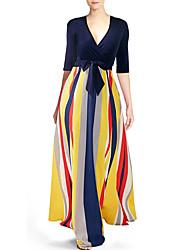 baratos -Mulheres Feriado Elegante balanço Vestido - Estampado / Enrole, Listrado Decote V Longo