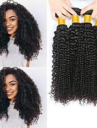 billige -4 pakker malaysisk hår Krøllet Menneskehår Menneskehår, Bølget / Bundle Hair / Én Pack Solution 8-28 inch Menneskehår Vævninger Maskinproduceret Bedste kvalitet / 100% Jomfru / curling Naturlig Farve