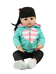 Недорогие -NPKCOLLECTION NPK DOLL Куклы реборн Кукла для девочек Девочки 24 дюймовый Подарок Очаровательный Искусственная имплантация Коричневые глаза Детские Девочки Игрушки Подарок