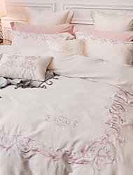 baratos -Conjuntos de capa de edredão jacquard de algodão geométrica reativa impressão 4 peça conjuntos de cama / 4 pcs (1 capa de edredão, 1 folha plana, 2 shams) rainha