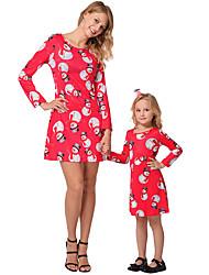 cheap -2pcs Adults / Kids Mommy and Me Rainbow Long Sleeve Dress