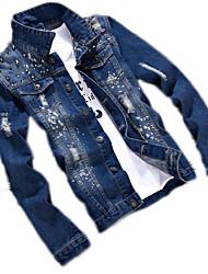Недорогие -Муж. Джинсовая куртка Классический - Однотонный
